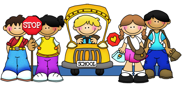 Image of kids with stop sign and school bus