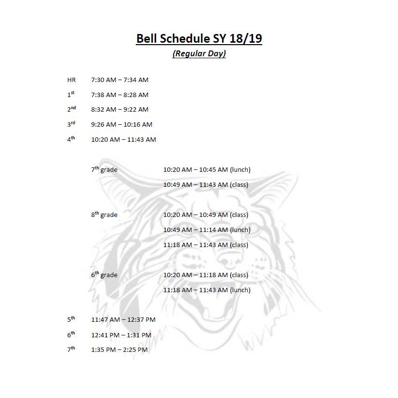 18-19 Bell Schedule - Regular Day