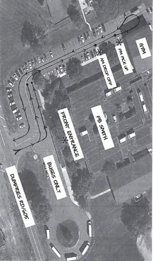 aerial view of PB Smith with traffic route drawn