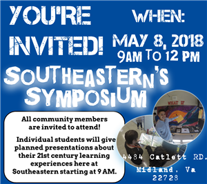 A great opportunity to come and see what project based learning looks like at Southeastern May 8, 2018