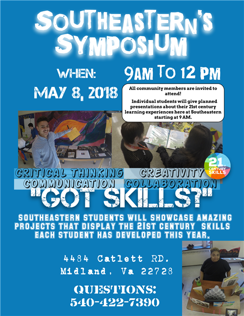 Student created flyer to advertise and inform the public of Southeastern's Spring Symposium this from 9AM to 12PM May 8, 2018