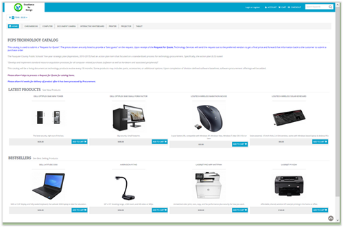 Screen shot of the home page for the technology catalog