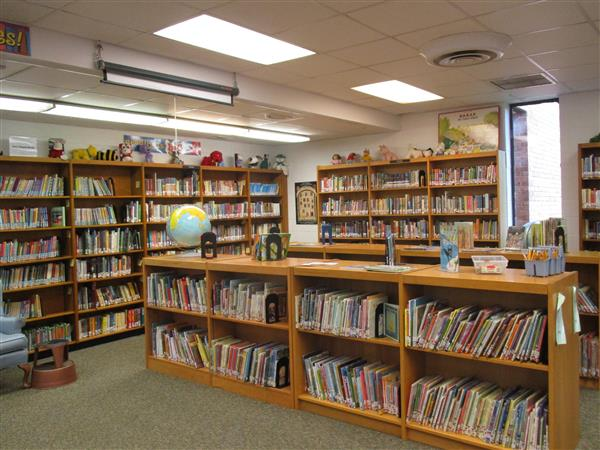 Image of books on the shelves in the library