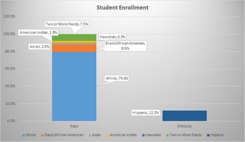 Dual bar chart student enrollment; race white 79.6% black 8.6% asian 2% american indian 1.9%, hawaiian .3% 2 or more 7.5%; ethnicity hispanic 12.2%